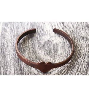 Vintage Copper Heart Cuff Bracelet
